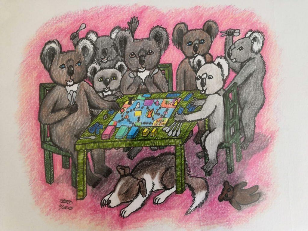 Piirretty kuva joukosta koalakarhuja pelaamassa lautapeliä. Monilla on kädessään lusikoita. Pöydän alla nukkuu koira.