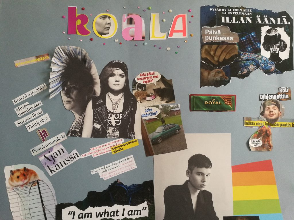 Koala-kollaasi. Sanoma - ja aikakauslehdistä leikattu ja liimattu teos sisältää mm. kaksi mustavalkoista punkkaria, hamsterin juoksupyörän päällä, pieniä muovitimantteja,  sateenkaarilipun ja tekstin I am what I am.