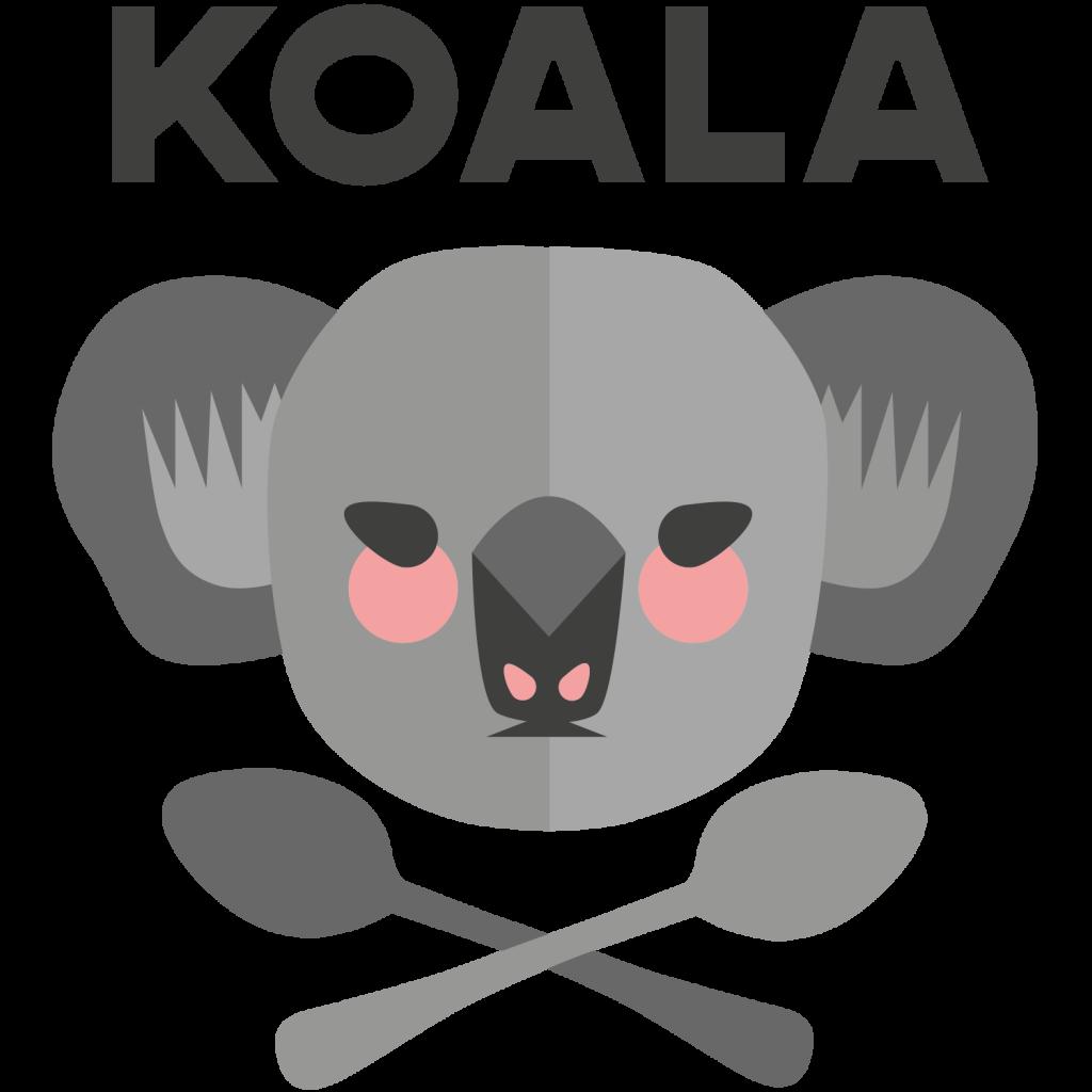 Koalan logo: koalan pää jonka alla kaksi lusikkaa ristissä